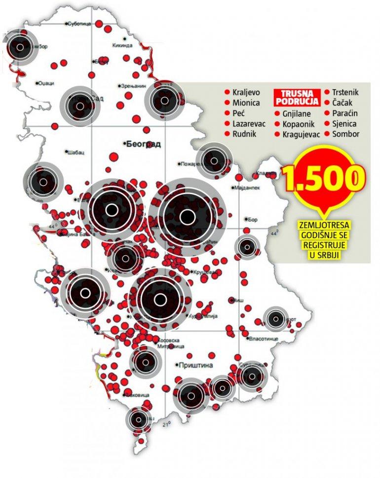 Mapa Spisak Gradova U Srbiji Kojima Preti Zemljotres Ova Mesta