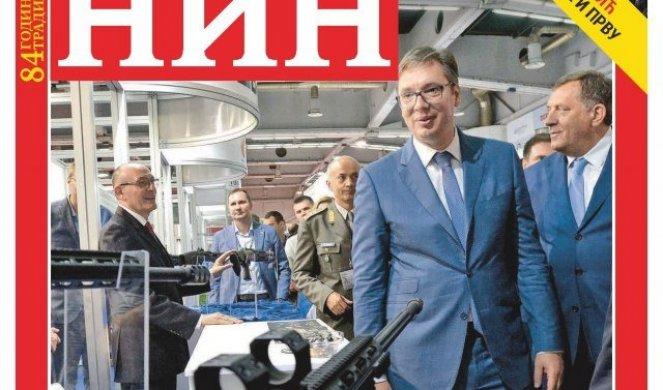 """Slikovni rezultat za Bura oko naslovnice NIN-a sa puškom uperenom u Vučića"""""""