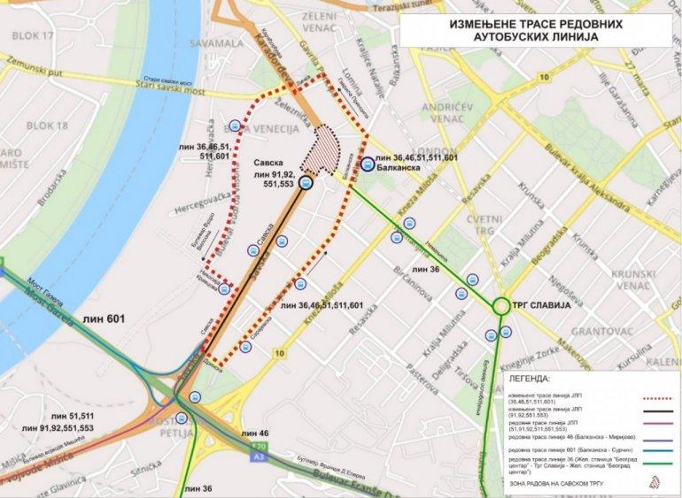 Mapa Radovi Zatvaraju Savski Trg I Menjaju Saobracaj Pogledajte