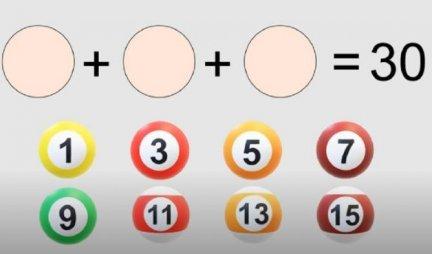 OVU MOZGALICU RETKO KO MOŽE DA REŠI! Da li možete sa TRI kugle da dobijete ZBIR 30?