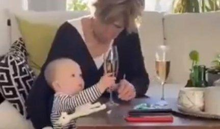Pustila bebu da PADNE, da bi spasila ČAŠU ŠAMPANJCA! Ovu baku svi ismevaju, NIJE BILA DOBRA! (VIDEO)