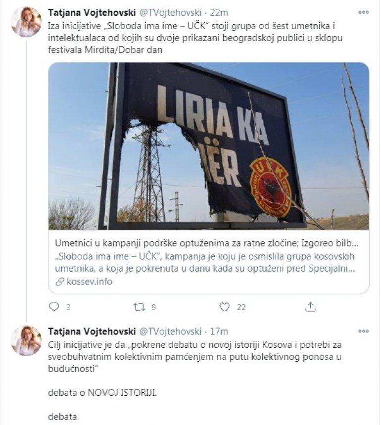 ЗАПАМТИТЕ ОВУ БЕСРАМНУ НОВИНАРКУ За Војтеховску је билборд УЧК - уметничко дело и позив да дебату!