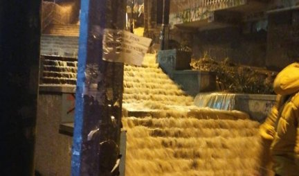 UZICE WATERFALLS WORKED!  In the middle of the night, a large water pipe burst, a torrent of water created chaos in the city / PHOTO /